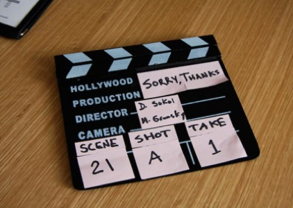 It doesnt get more pro than this! The slate from day #1 on set, at the Chronicle Books offices. We later amended to a An Hollywood production, to class it up a bit.